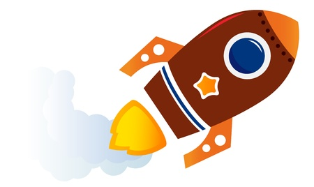 Cartoon spaceship isolated on white illustration