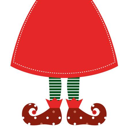 Christmas elf legs with red skirt  Vector Illustration