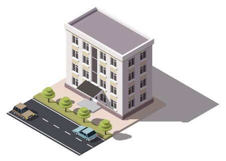 Illustration for Public residential building isometry. Isometric view of the house and cars. 3D object for video games or real estate advertising. For Your business. Vetor Illustration - Royalty Free Image
