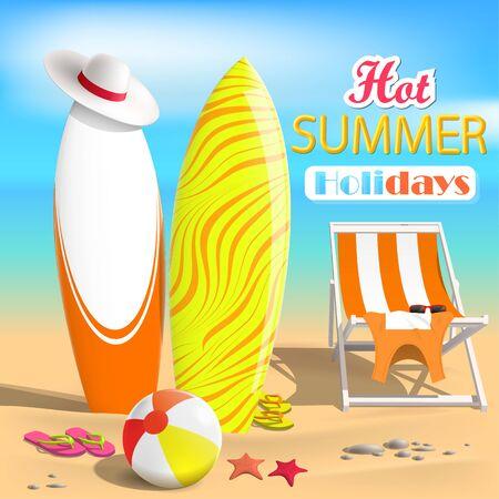 Summer. Surfboards and beach ball. Sea. 3D Vector Illustration