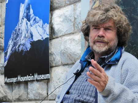 Cadore, ITALY - June 06, 2010 - Mountaineer Reinhold Messner speaks during the seasonal opening of the Messner Mountain Museum at the top of Mt. Rite (Dolomites area)