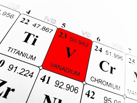 Photo pour Vanadium on the periodic table of the elements - image libre de droit