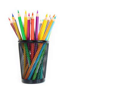 Foto de Bunch of colored pencils in a pencil holder. Macro still-file picture taken in studio with white background and softbox. - Imagen libre de derechos
