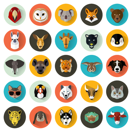 Illustration pour Animal Portrait Set with Flat Design / Vector Illustration - image libre de droit