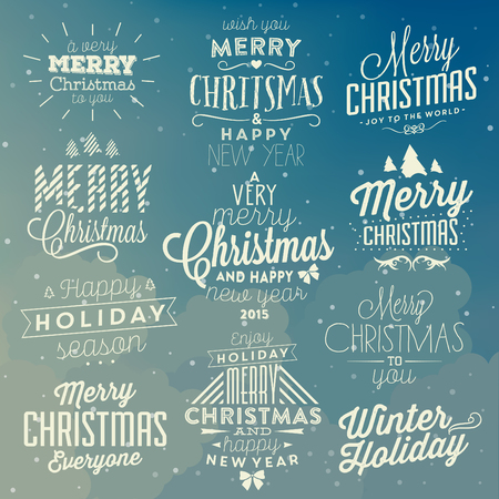 Christmas Typographic Background Set / Merry Christmas And Happy New Year