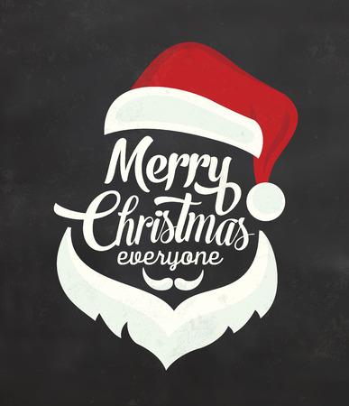 Illustration for Christmas Typographic Background / Merry Christmas / Santa - Royalty Free Image