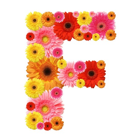 F, flower alphabet isolated on white