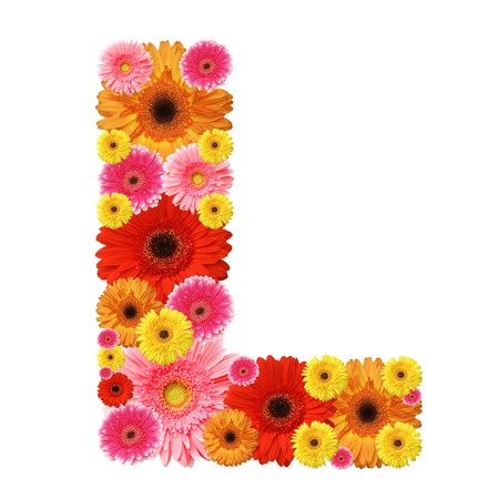 L, flower alphabet isolated on white