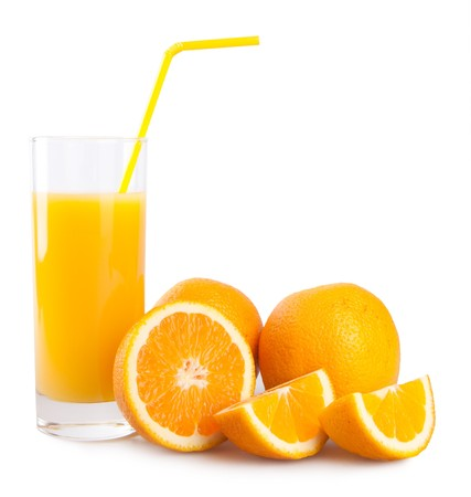 orange juice isolated on white