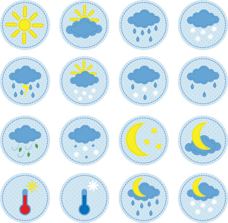 set of a cute sewed cloth weather icons