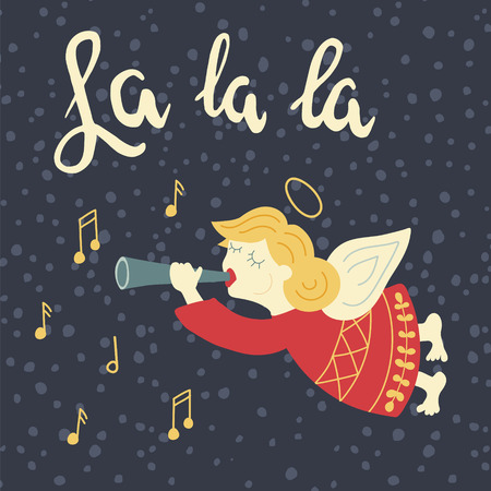 vector illustration of an angel playing on a trumpet and La la la hand lettering text
