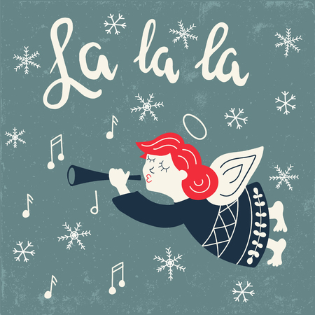 vector illustration of a girl angel with trumpet and La la la hand drawn text