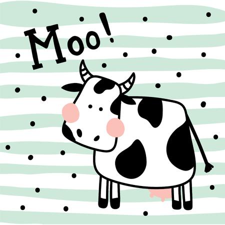 Ilustración de vector illustration of a cute cow on striped background - Imagen libre de derechos