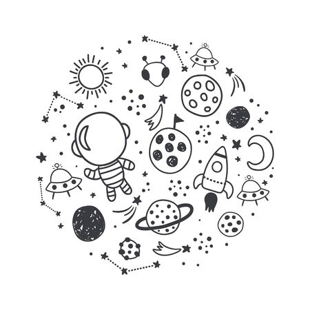 Illustration for vector illustration, space related images arranged in a circle - Royalty Free Image