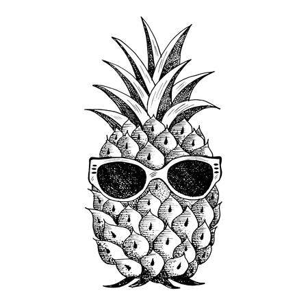 Illustration pour Summer pineapple in glasses. - image libre de droit