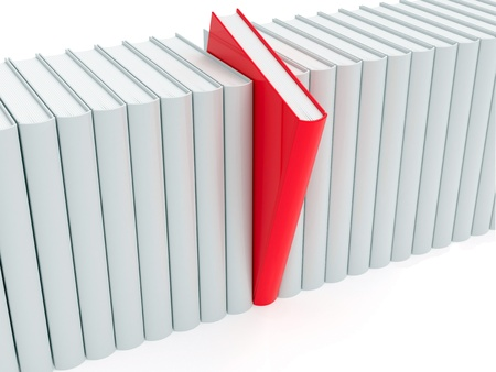 Red book within white ones rendered with soft shadows on white background