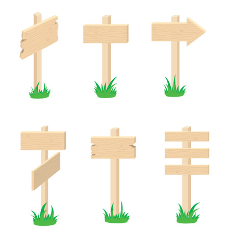 Different versions of the wood signes, illustration