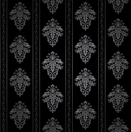 Seamless Gothic ornamental wallpaper, floral pattern, illustration