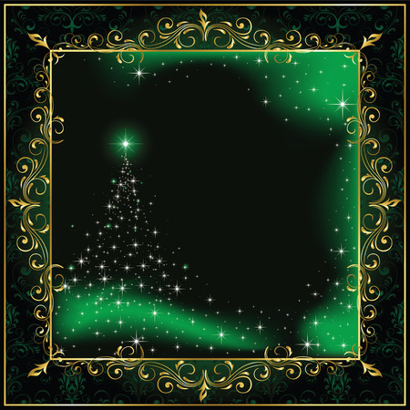 Illustration for Background with stars and Christmas tree, illustration - Royalty Free Image