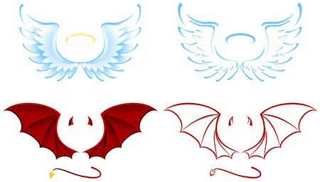 Angel and Devil wings, illustration