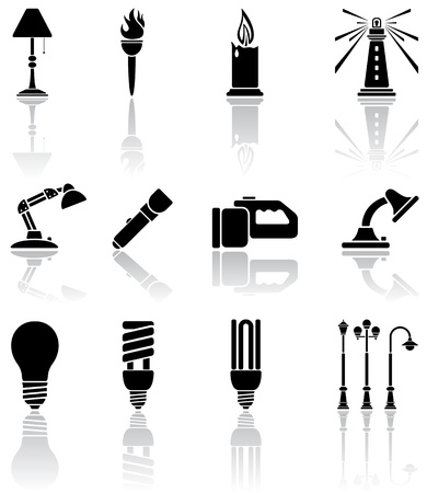 Set of black lights icons, illustration