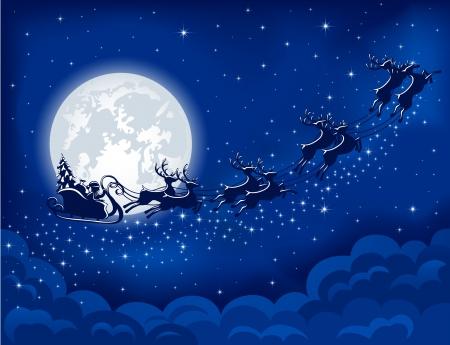 Christmas background with Santa sleigh, illustration