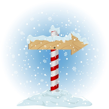 North Pole sign with the falling snow, illustration