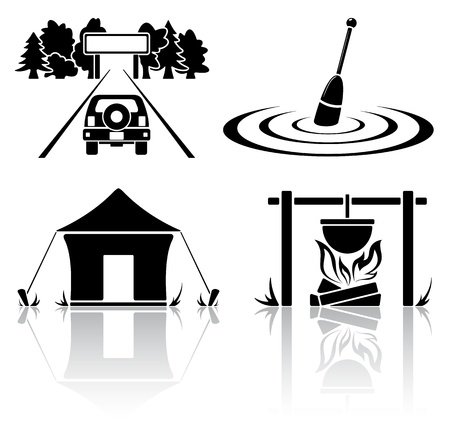 Set of black camping icons, illustration