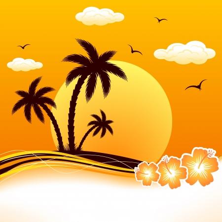 Illustration pour Tropical Island with palms and flowers, illustration. - image libre de droit