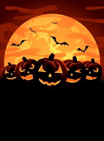Halloween night background with pumpkins, illustration