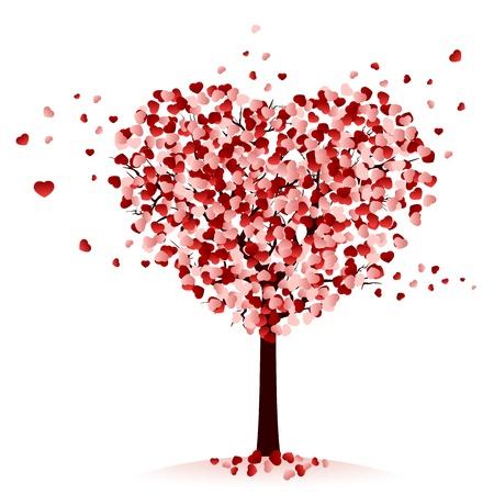 Ilustración de Love tree on white background, illustration  - Imagen libre de derechos
