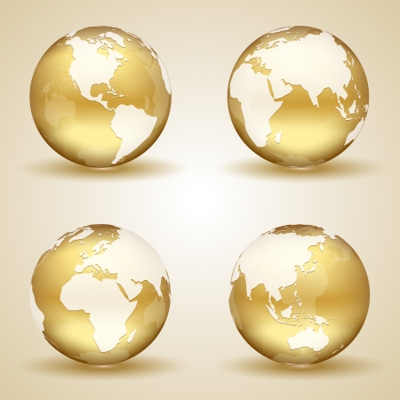 Set of golden globes on beige background, illustration.