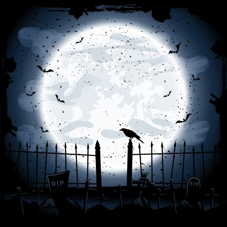 Scary Halloween night background, crow in the cemetery, illustration
