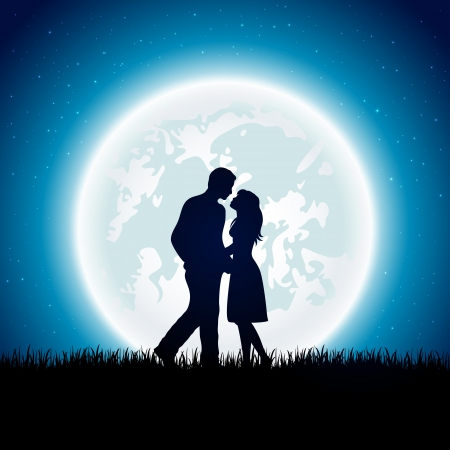 Enamored couple with Moon on the night sky background, illustration