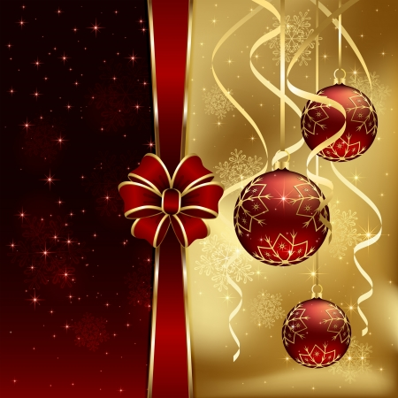 Christmas background with three baubles and red bow, illustration
