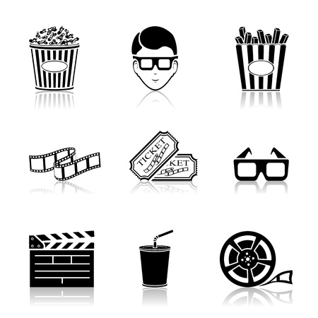 Collection of black cinema icons isolated on white background, illustration