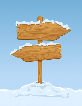Wooden sign with snow on blue sky background, illustration