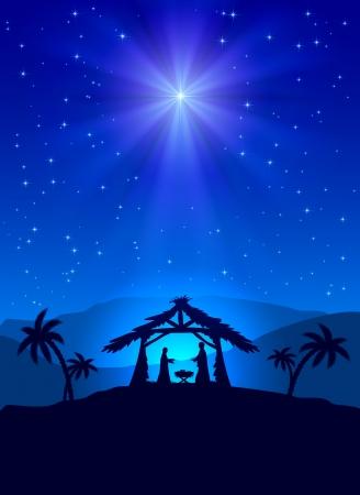 Christian Christmas night with shining star and Jesus, illustration