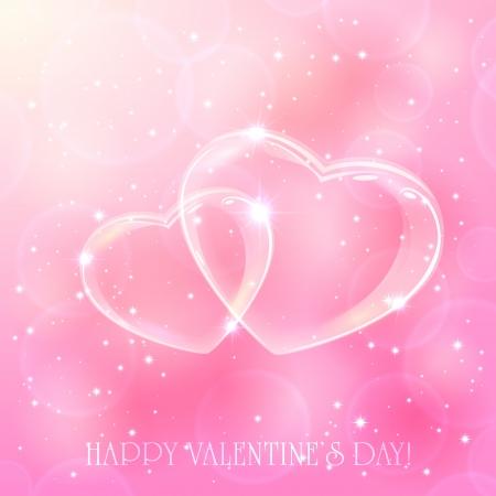 Ilustración de Two shinny hearts on pink background with stars, illustration  - Imagen libre de derechos
