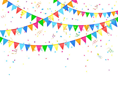 Illustration for Festive background with colored flags and confetti, illustration  - Royalty Free Image