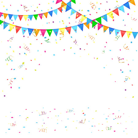 Illustration for Festive background with colored pennants and confetti, illustration  - Royalty Free Image