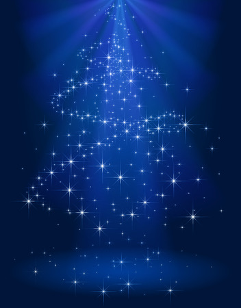 Blue shining background with stars in the form of Christmas tree, illustration.