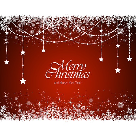 Illustration pour Christmas decoration with snowflakes and stars on red background, illustration. - image libre de droit