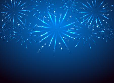 sparkle fireworks on the blue , illustration.