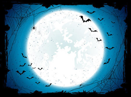 Illustration pour Dark Halloween background with Moon on blue sky, spiders and bats, illustration. - image libre de droit