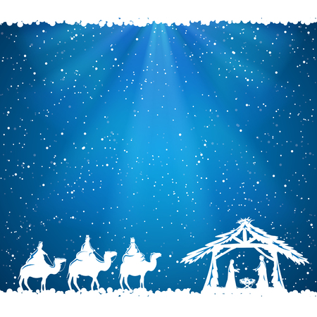 Illustration pour Christian Christmas scene on blue background, illustration. - image libre de droit