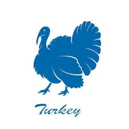 Blue icon of turkey bird isolated on white background, illustration.