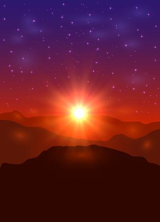 Illustration pour Beautiful landscape with sun and stars, sunrise in the mountains, illustration. - image libre de droit