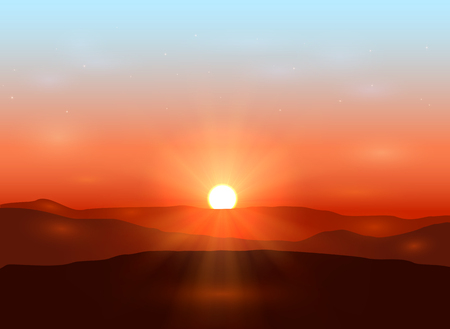 Illustration for Beautiful dawn with shining sun in the mountains, illustration. - Royalty Free Image