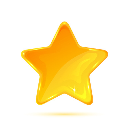 Yellow star isolated on white background, illustration.